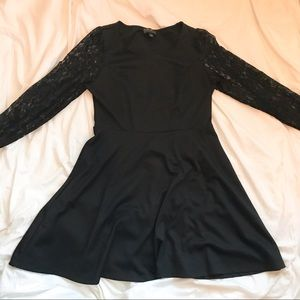 Forever 21 Black Lace Long Sleeve Dress